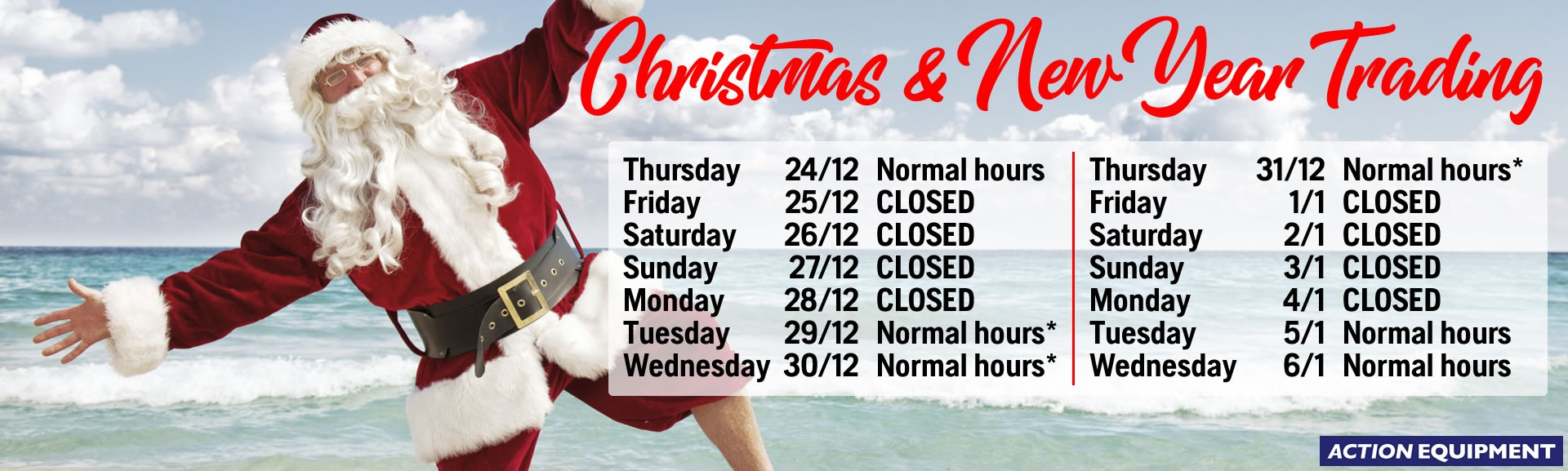 Trading hours: Xmas/New Year 2020-2021